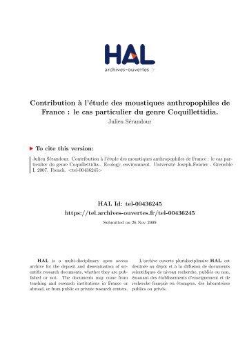 Contribution à l'étude des moustiques anthropophiles de France: le ...