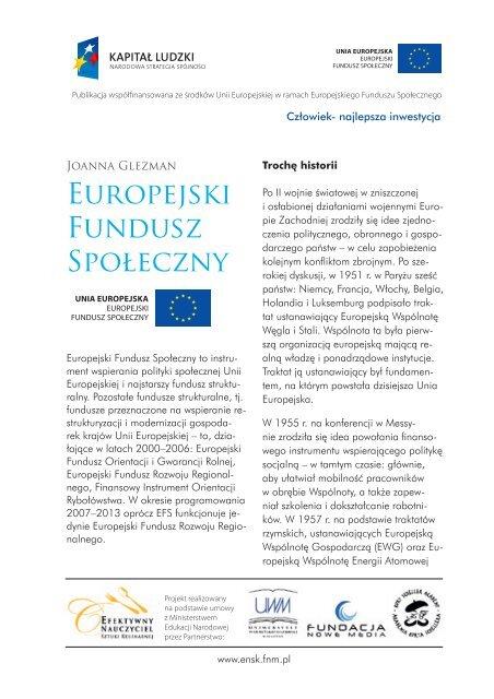 Europejski Fundusz Społeczny - Efektywny Nauczyciel Sztuki ...