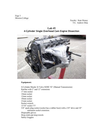 Lab #5 - Mazda 4-Cyl Engine - Labsanywhere.net