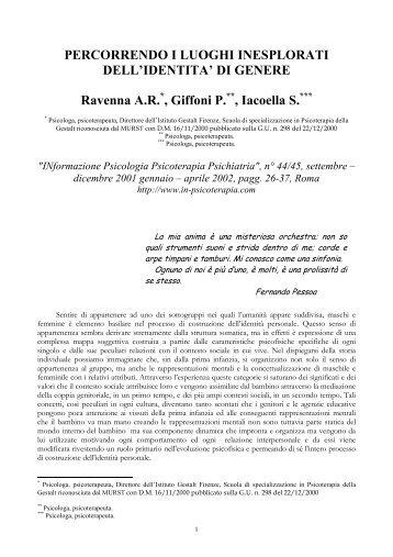 SCARICA l'articolo completo - in-psicoterapia