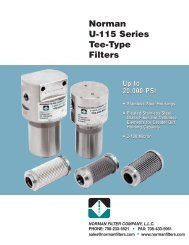 2-100 Micron Norman U-115 Series Tee-Type Filters - Norman Filters