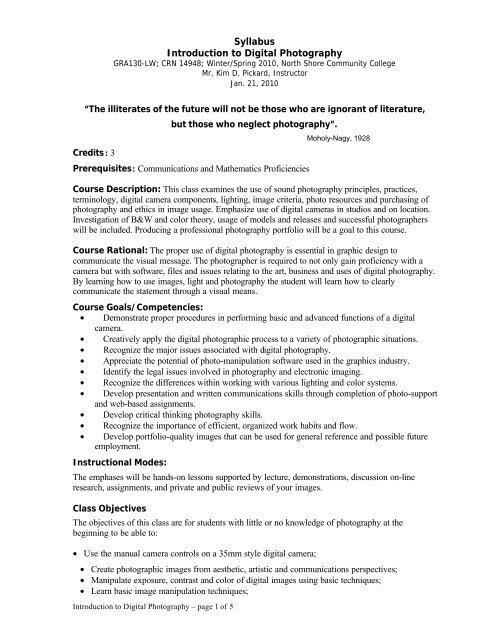 Syllabus Introduction to Digital Photography - NSCC MyWeb 2 0