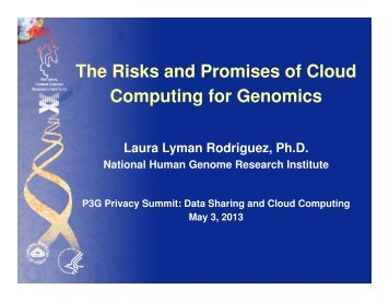 The Risks and Promises of Cloud Computing for Genomics - P3G