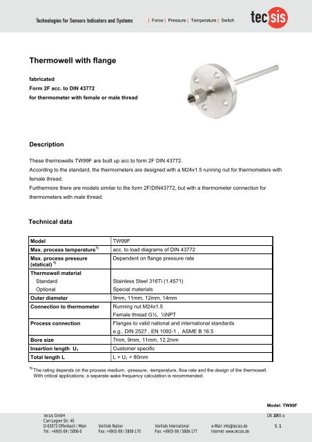 Thermowell with flange