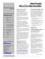 Alfred Hospital Ethics Committee Newsletter - Research & Ethics Unit