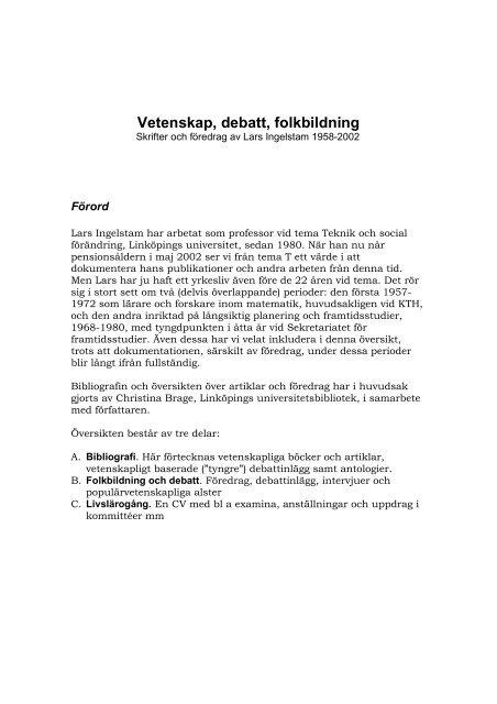 Vetenskap, debatt, folkbildning - Lars Ingelstams
