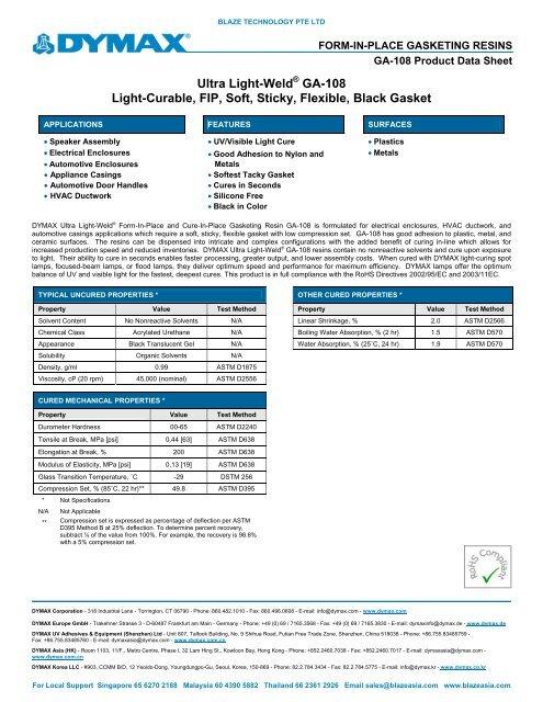 DYMAX GA-108 Form-in-PlaceGasketing Product Data Sheet