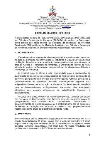 Edital PPGCTA Mestrado 2012 - Propesp - Universidade Federal do ...
