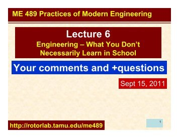 Your comments on What you don't learn in engineering
