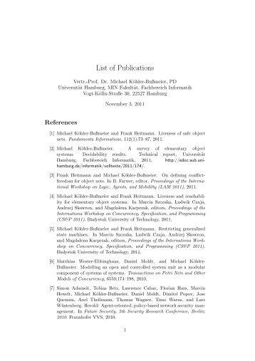Publikationsliste [PDF] - Fachbereich Informatik - Universität Hamburg