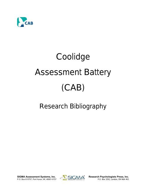 Coolidge Assessment Battery Cab Sigma Assessment Systems Cognitive assessment battery to screen brain function and cognitive performance. www yumpu com