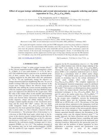Effect of oxygen isotope substitution and crystal ... - SINQ