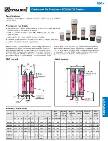 Stauff Hydraulic Accessories—Desiccant Air Breathers SDB/SVDB ...