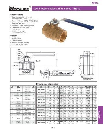 Stauff Hydraulic Valves—Low Pressure Ball Valves and Adaptors