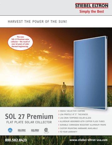 SOL 27 Premium Flat Plate Collector Brochure - Stiebel Eltron