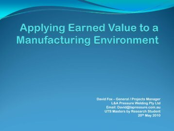 Earned Value Management Applied to an ... - Earned Schedule