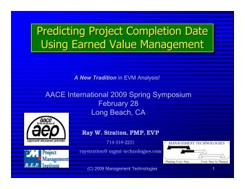 Predicting Project Completion Date Using ... - Earned Schedule
