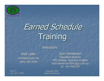 Earned Schedule Training