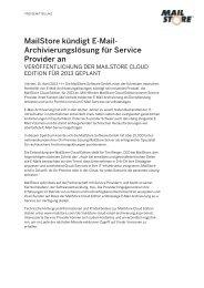 MailStore kündigt E-Mail- Archivierungslösung für Service Provider an