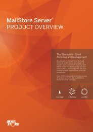 MailStore Server® PRODUCT OVERVIEW - Alt-N Technologies