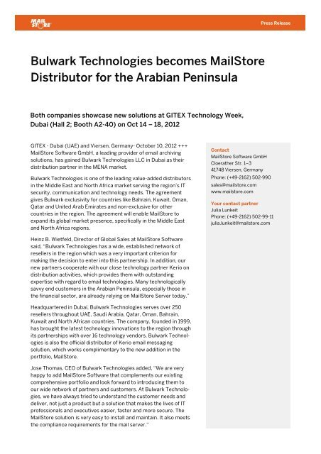 Bulwark Technologies becomes MailStore Distributor for the Arabian