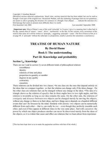 Hume's Treatise of Human Nature, Book I, part iii, 1-10