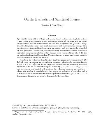 On the Evaluation of Simplicial Splines - University of St. Thomas