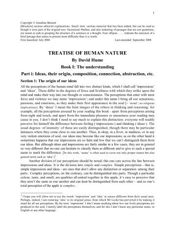 Hume's Treatise of Human Nature, Book I, Part i - University of St ...