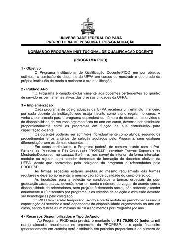 Normas do Programa Institucional de Qualificação ... - Propesp
