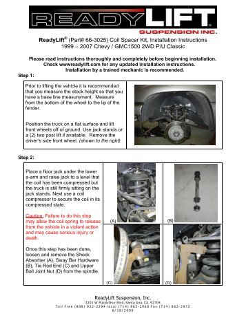 ReadyLift (Part# 66-3025) Coil Spacer Kit, Installation Instructions ...