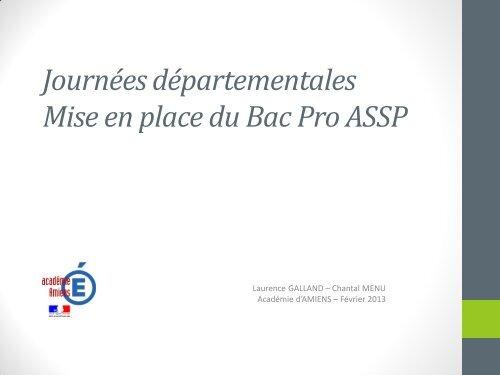 Journees Departementales Mise En Place Du Bac Pro Assp