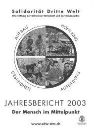 Jahresbericht 2003 - Solidarität Dritte Welt