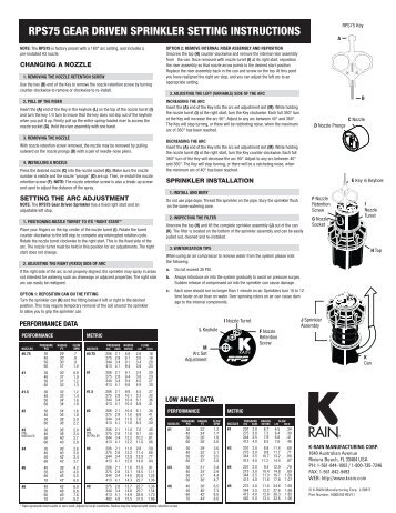 rps75 gear driven sprinkler setting instructions - Splash Irrigation