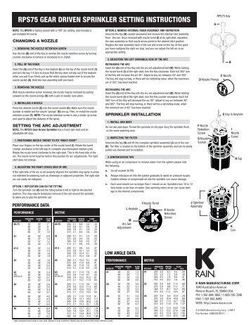 rps75 gear driven sprinkler setting instructions - Splash Irrigation