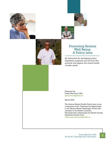 Promoting Seniors Well Being: A Policy Lens - Seniors Mental Health