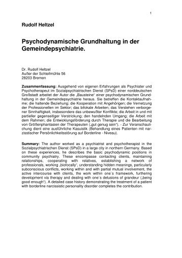 Psychodynamische Grundhaltung in der ... - Rudolf-heltzel.de