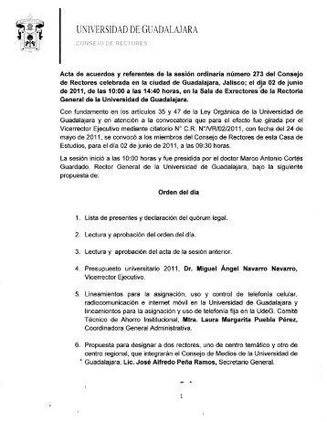 Acta de Acuerdos 273 - Consejo de Rectores
