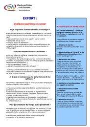 EXPORT guide pour les primo exportateurs - Chambre de Métiers et ...