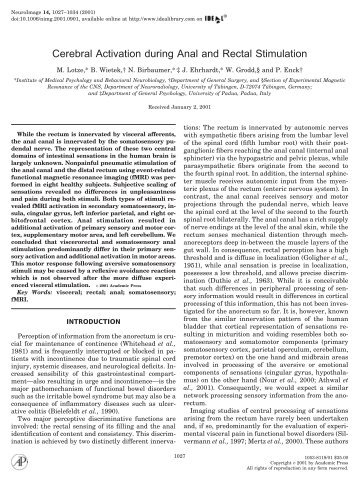 Cerebral Activation during Anal and Rectal ... - ResearchGate