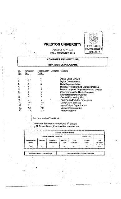 Computer Architecture Preston University