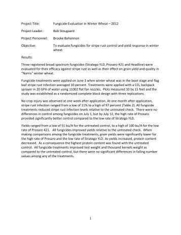 Project Title: Fungicide Evaluation in Winter Wheat – 2012 Project ...