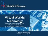 Virtual Worlds Technology for Psychological Health - JUN 2010