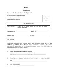 Form I (See Rule 3) Form for verification of Antecedents of Applicant ...