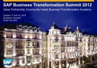 SAP Business Transformation Summit 2012 - 360° – The Business ...