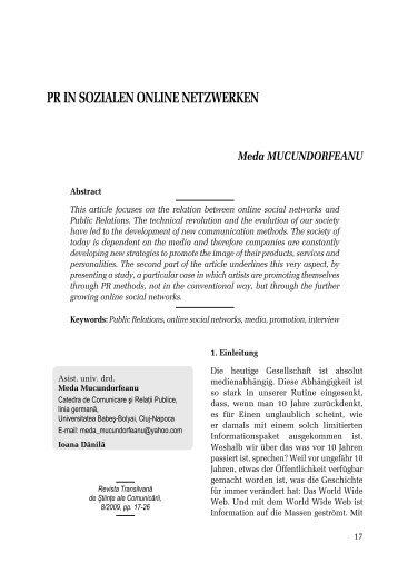 PR IN SOZIALEN ONLINE NETZWERKEN - Ekphrasis