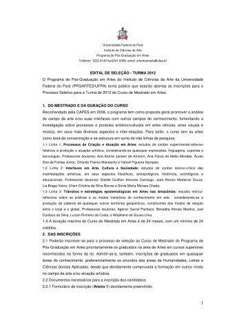 Edital Seleção 2012 - Propesp - Universidade Federal do Pará