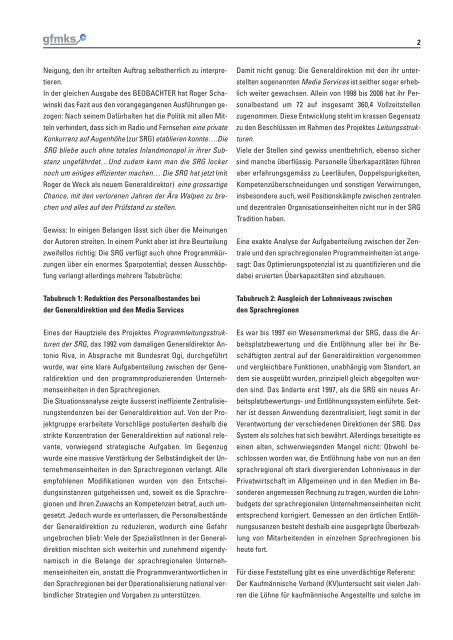 SRG: Eine schweizerische Institution am Scheideweg - gfmks