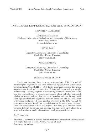 INFLUENZA DIFFERENTIATION AND EVOLUTION∗ - Adaptive Wiki