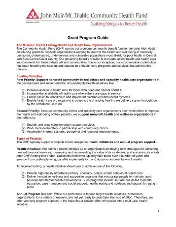 Community Health Fund's Grant Program Guide - John Muir Health