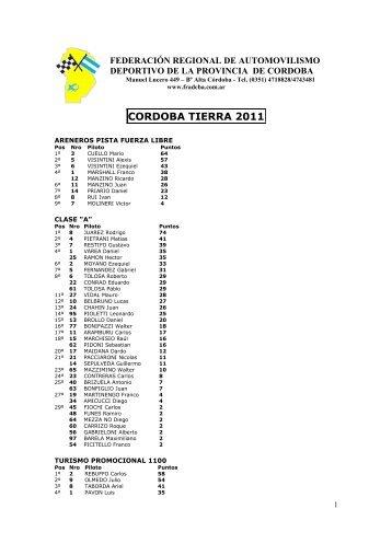 CAMPEONATO CORDOBA TIERRA 2011 - Federación Regional de ...